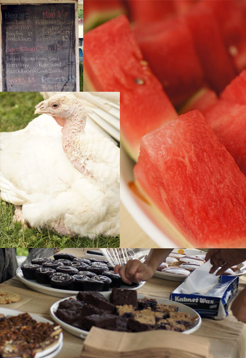 Vegan BBQ menu board, everyone loves watermelon, feathered cookie thief, bake sale station