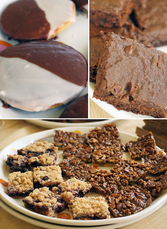 Black & White Vegan Cookies, Deluxe Cocoa Brownies, Blueberry Crumb Bars & very sticky Pecan Bars