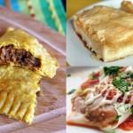 "The stuffed goods: Jamaican Seitan Patties, vegan Galaktoboureko ""galactic booty call"", Afgani pumpkin dumplings"