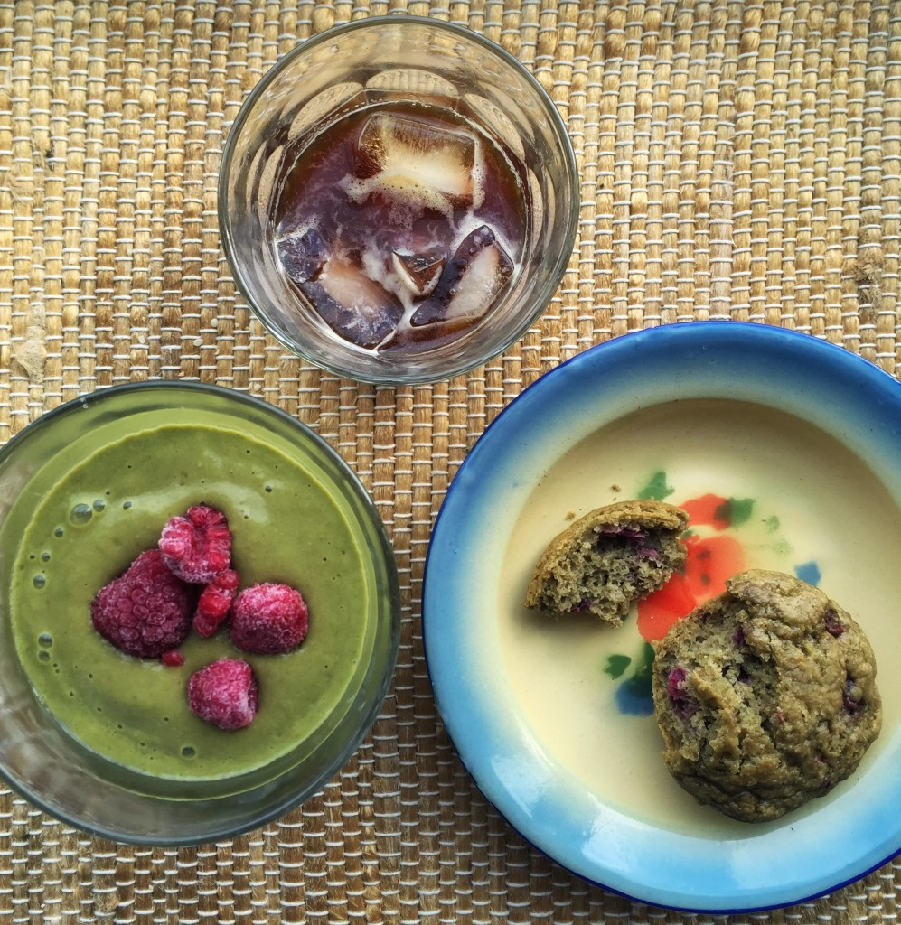 Green hemp smoothie, hemp protein berry muffins, and precious iced coffee