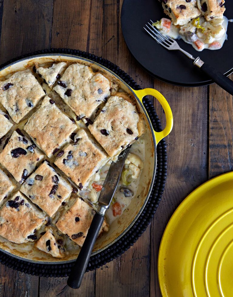 Cauliflower Pot Pie with Black Olive Biscuit Crust